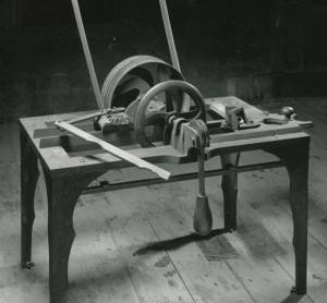 Barrel head cutting machine, invented by William Mickel of Oneonta