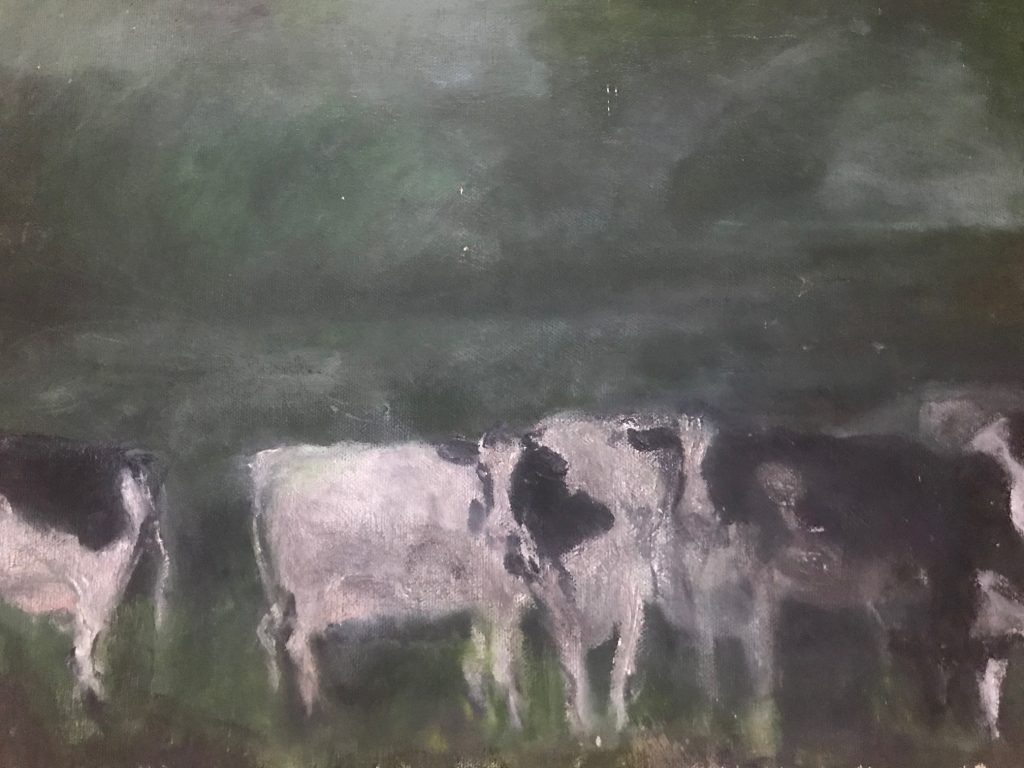 """Darling Cows, Roxbury, Dusk"" Oil on canvas by Ellen Wong"