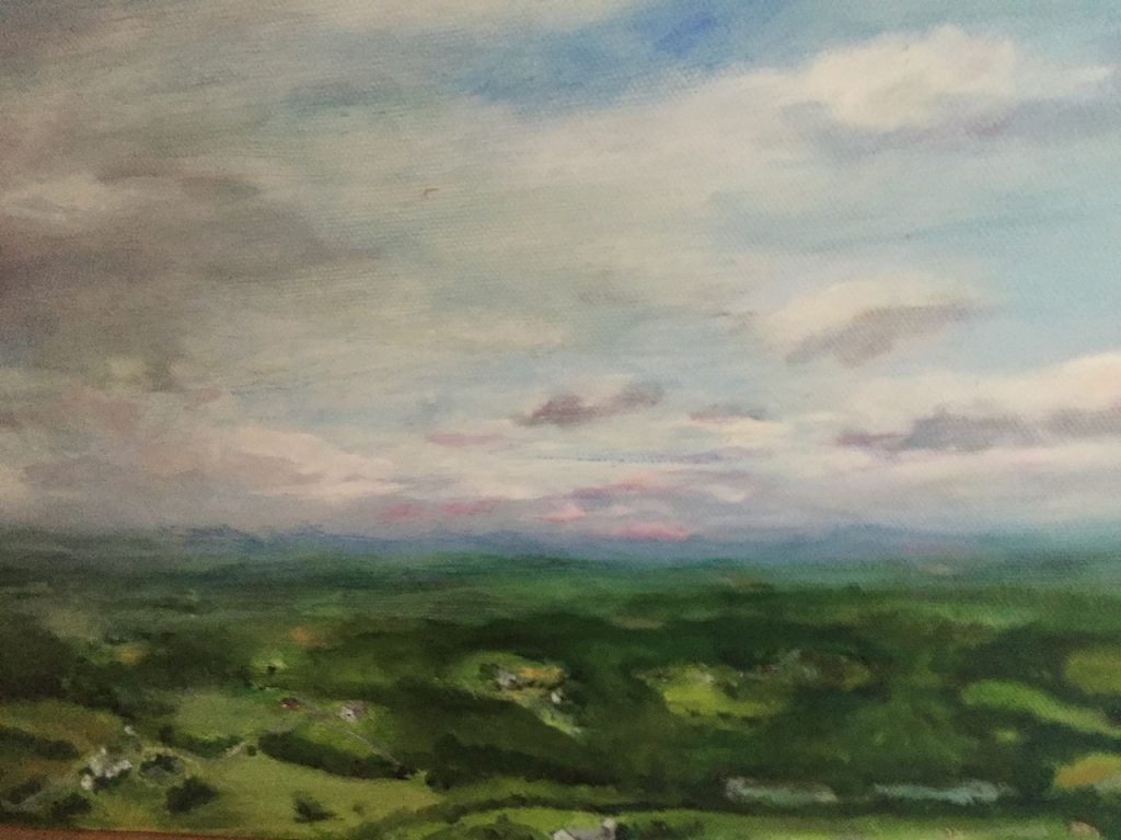 """Farmsin the Valley, North from Mt. Utsayantha"" Oil on Canvas by Ellen Wong"