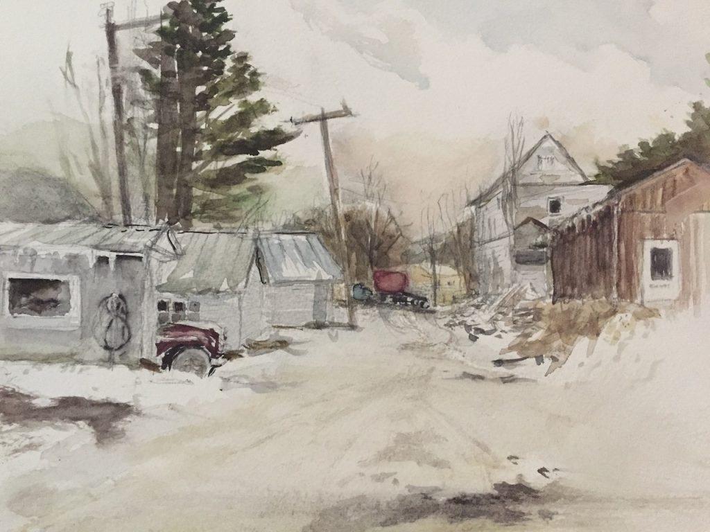 """""""Winter, RailRoad Avenue, Roxbury"""" watercolor on paper by Ellen Wong"""